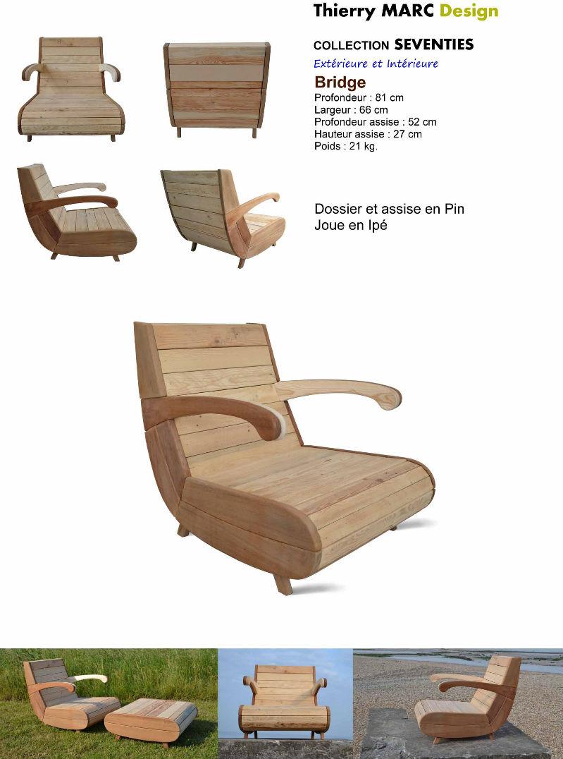 fauteuil bridge vintage design bois thierry marc recyclé