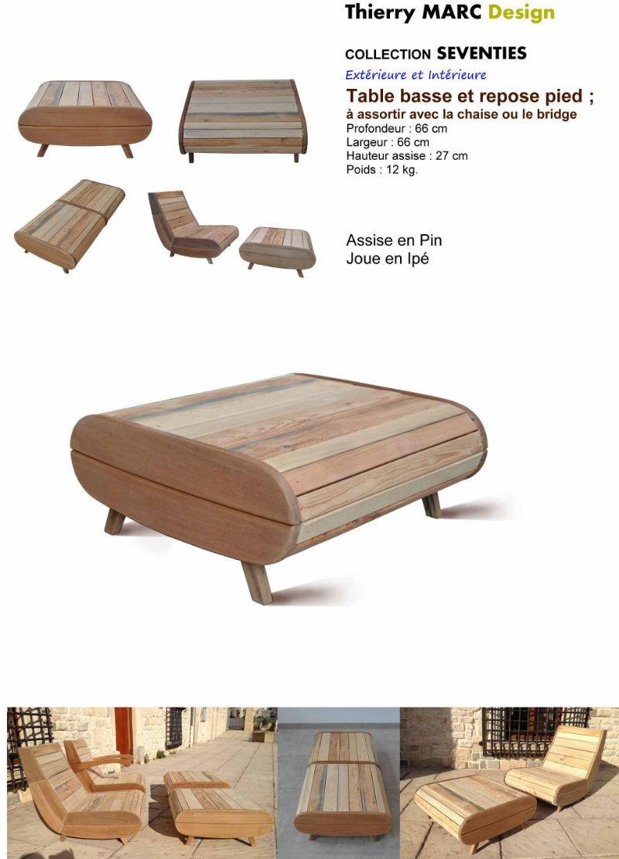table basse vintage design bois thierry marc recyclé