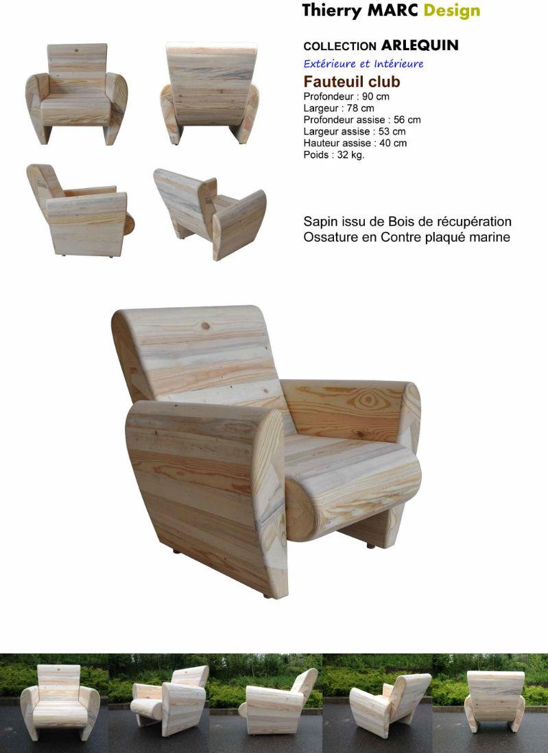 Fauteuil club design thierry marc cr ateur designer bois for Fabriquer une chaise en bois