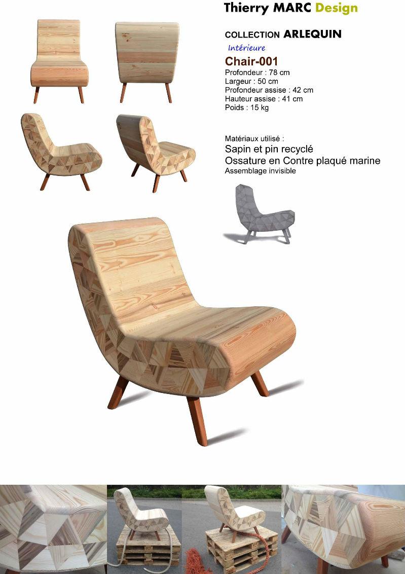 fauteuil club vintage design bois thierry marc recyclé