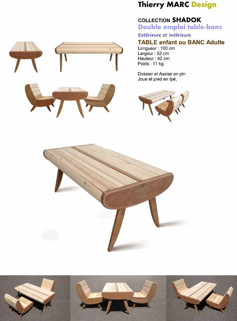 table enfant vintage design bois thierry marc recyclé